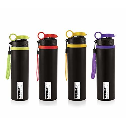 SPRINGWAY - Brand of Happiness Sporty Stainless Steel Water Bottle 750ml Set of 4 (Multicolour)