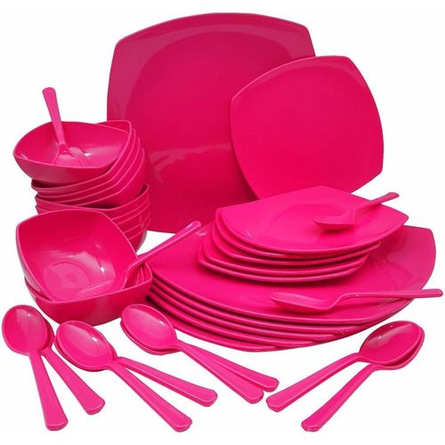 Homray Pack of 36 PP (Polypropylene) Microwave Safe, Unbreakable Square Dinner Set, 36 Pieces (Pink) Dinner Set(Microwave Safe)