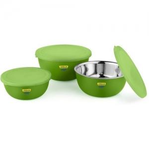 Urban Chef Flora Microwave Safe Steel Vegetable Bowl(Green, Pack of 3)