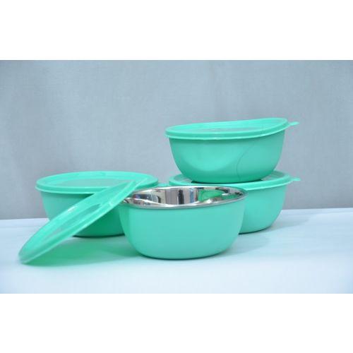LEOPINE SAFE STAINLESS STEEL PLASTIC COATED BOWL GREEN SET OF 4 Polypropylene Storage Bowl(Green, Pack of 4)