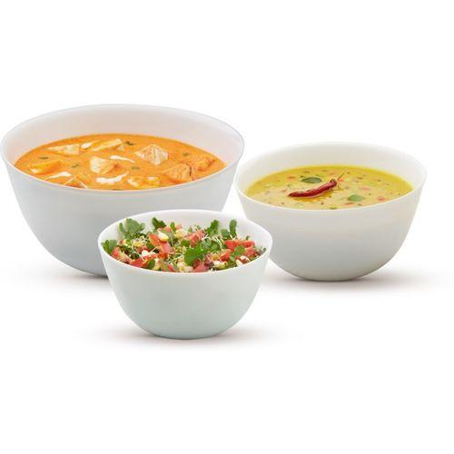 Larah by Borosil Set of 3 mixing bowl - 500ml, 750ml & 1L Opalware Mixing Bowl(White, Pack of 3)