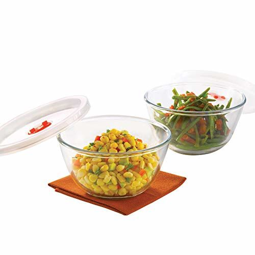 Borosil - Basics Glass Mixing Bowl with lid - Set of 2 (500ml) Microwave Safe