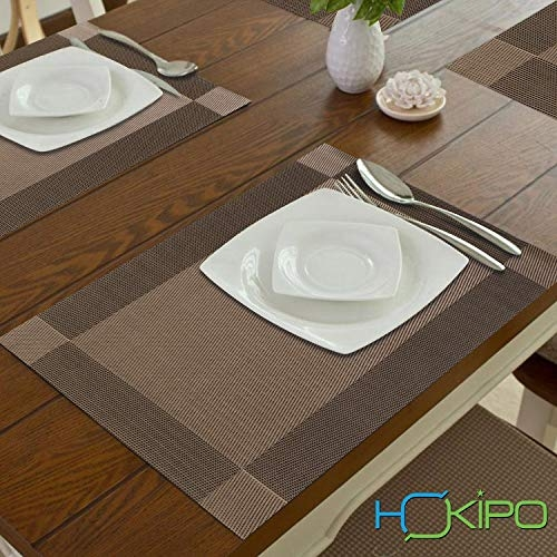 HOKIPO PVC Vinyl Washable Table Mats for Dining Table - 45x30 cm Placemats Set of 6, Zinc Brown (AR1600)
