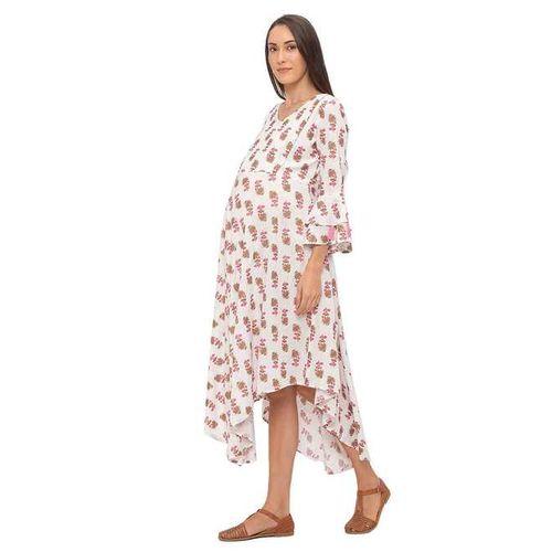 MomToBe White Floral Print Maternity Dress
