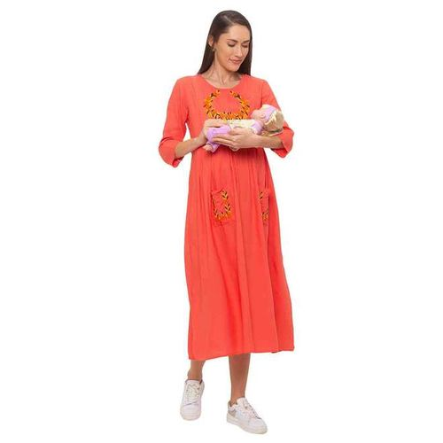 MomToBe Peach Embroidered Maternity Dress