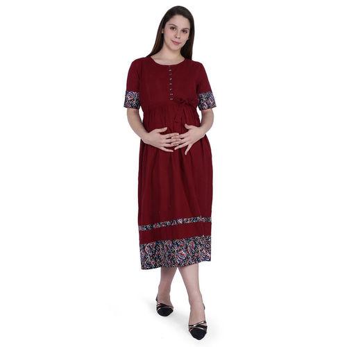 MomToBe Maroon Cotton Maternity Dress