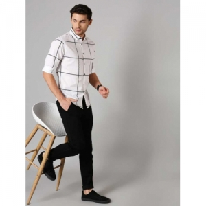 Dennis Lingo White Cotton Checkered Slim Fit Casual Shirt