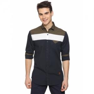 Campus Sutra Multicolour Cotton Colour Block Long Sleeve Casual Shirt