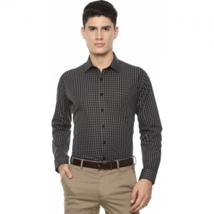 Van Heusen Black Cotton Checkered Full Sleeve Formal Shirt