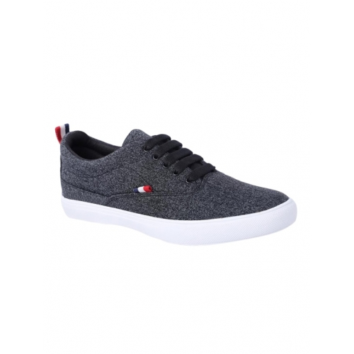 4STEP Black Synthetic Solid Lace Up Sneakers