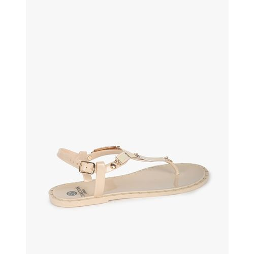 Carlton London T-strap Sandals with Buckle Closure