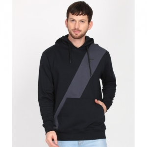 Fila Black Cotton Colour Block Full Sleeve Sweatshirt