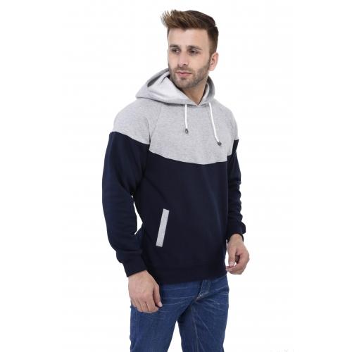Weardo Grey & Blue Colour Block Full Sleeve Hooded Sweatshirt