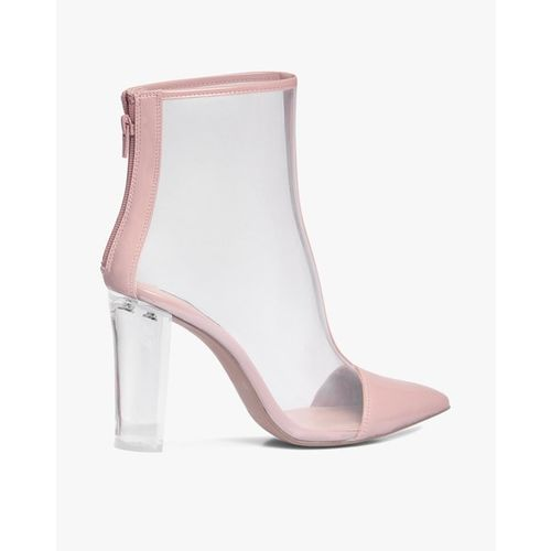 STEVE MADDEN Clancy Transparent Mid-Top Block-Heeled Boots