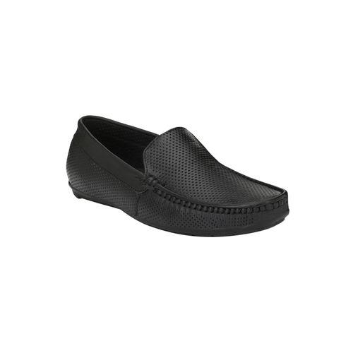 Hirel's black leather slip on loafers
