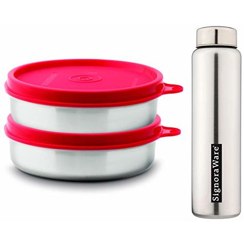 Signoraware Mini Mate Container, Set of 2, 60ml Each, Red & Riva Single Wall Steel Water Bottle, 750 ML, Silver Combo