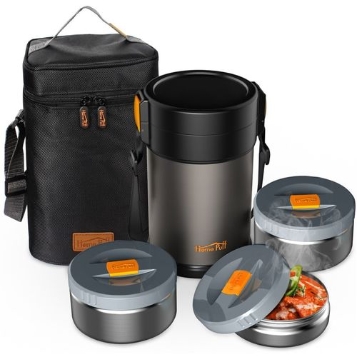 Home Puff Contigo-L Lunch Box Stainless Steel Vacuum Insulated, with Bag 3 Containers Lunch Box(2000 ml)