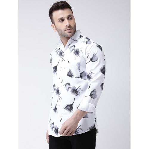 KHADIO White Cotton Floral Full Sleeve Partywear Shirt