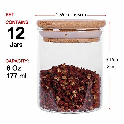 Tzerotone Glass Jars Set,Upgrade Spice Jars with Wood Airtight Lids and Labels, 6oz 12 Piece Small Food Storage Containers for Home Kitchen, Tea, Herbs, Sugar,