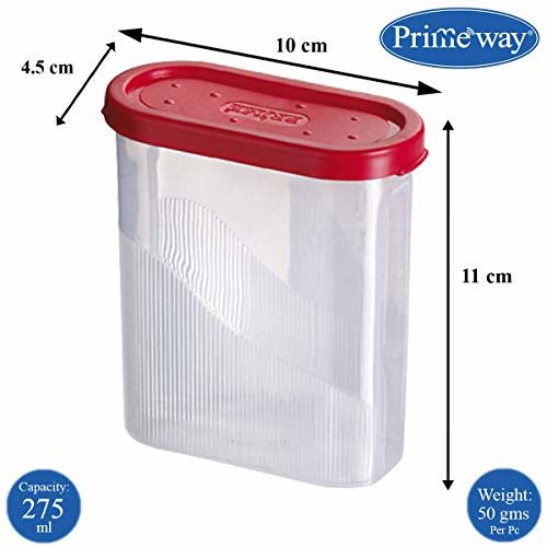 Primeway Air Tight Food Savers Masala Spices Containers, 275ml, Pack of 10 Pcs (Red)