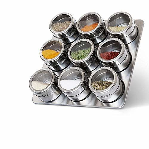 Generic Brand Lime Sky 9pcs Magnetic Spice Rack Stainless Steel Magnetic Spice Rack Shape Spice Rack Stainless Steel jar
