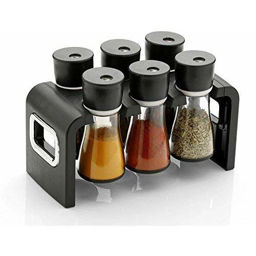 Generic Brand Miracle Enterprise Premium 6 Piece Multipurpose Plastic Spice Storage Rack Jar Condiment Set (Black)