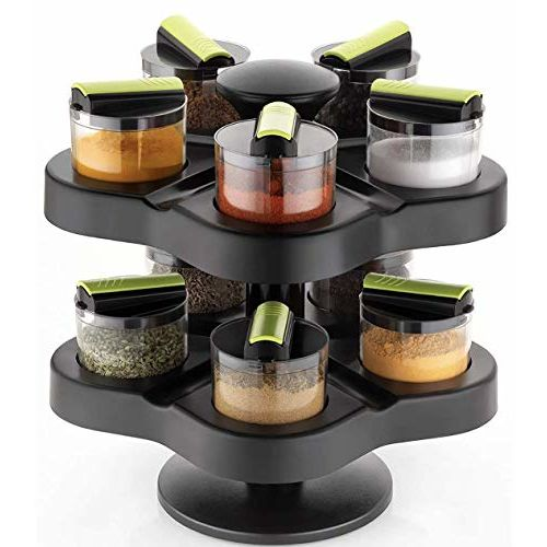 Heart Home Plastic Multipurpose Revolving Spice Rack 10 Piece Condiment Set 250Ml (Black)- HEART7380