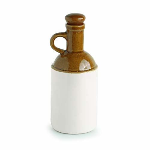 ExclusiveLane Old Fashioned Ceramic Oil Dispenser, 1 litres, Brown and Off White