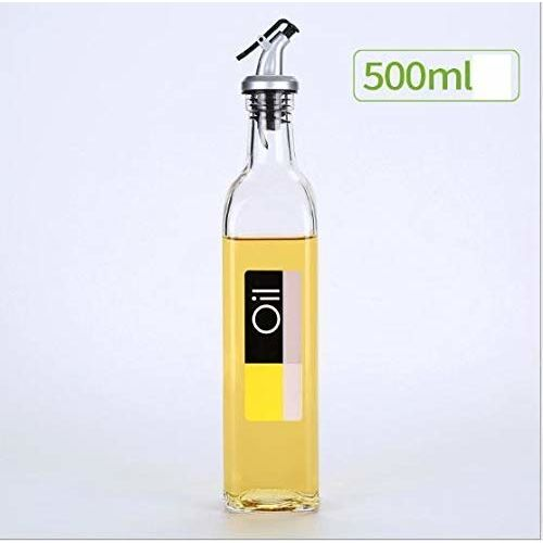 Baskety Glass Oil and Vinegar Cruet, Seasoning Set for Dining Table, Home and Kitchen, 500 ml 30cm(Transparent) (1 Pack Oil Label)