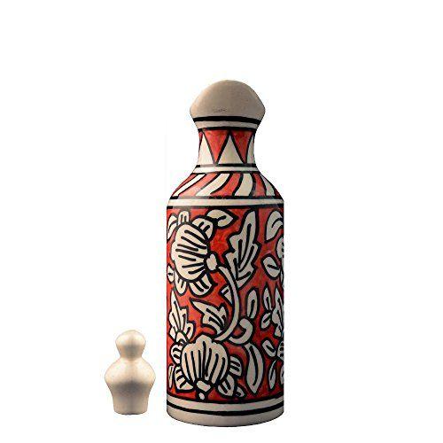 Craftghar Handmade Ceramic Oil Dispenser for Kitchen Orange Color (Ceramic 1 Dispenser with lid) | Oil Bottle Ideal for Storage of Cooking Oil, Vinegar