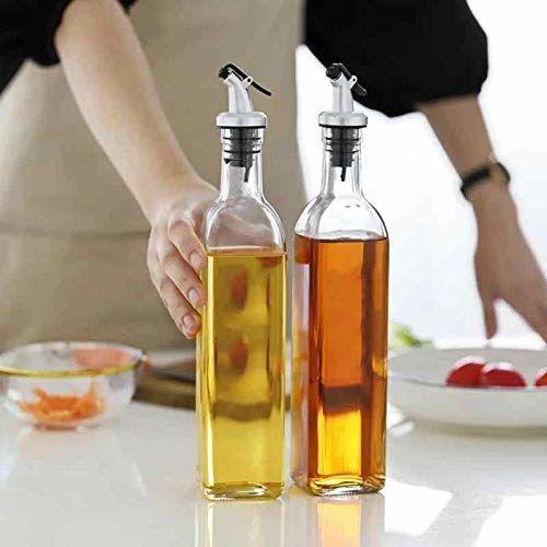 Ngel Glass Oil and Vinegar Storage Bottle, Vinegar Dispenser Transparent Single Bottle for Dining Table and Home and Kitchen Sauce Bottle Dispenser 500 ml Each