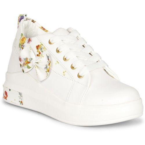 Prasking Premium Floral Sneakers For Women(White)
