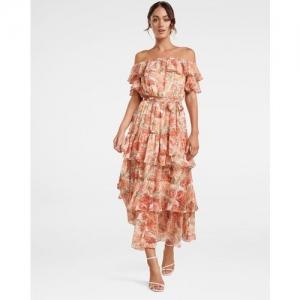 Forever New Floral Print Off Shoulder Tiered Dress