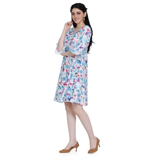 Manisha Fashion flute sleeved floral a-line dress
