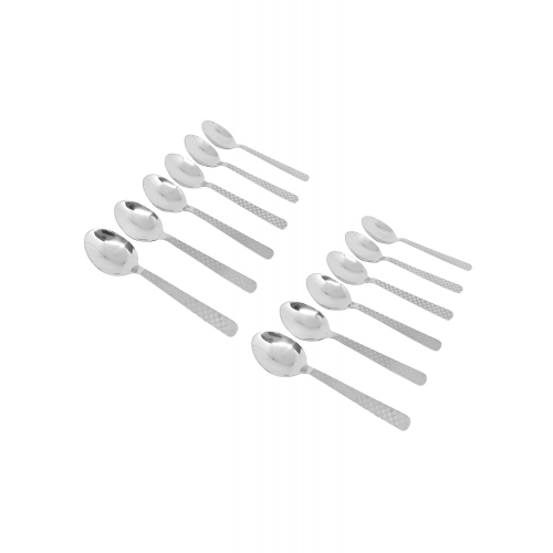 homeish stainless steel table spoons with laser check design (12 pcs)