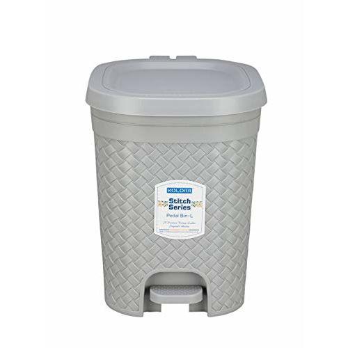 Kolorr Stitch Pedal Waste Bin Modern Design Trash Can Plastic Dustbin - 15L (Daiso Grey)