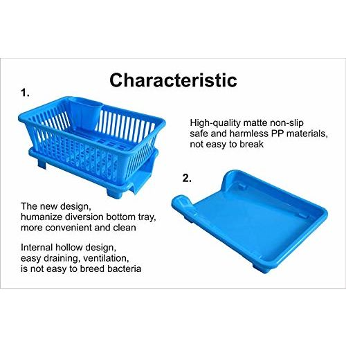 Sinex 3 in 1 Large Durable Sink Plastic Dish Rack Utensil Drainer Drying Basket for Kitchen with draining Tray After wash Tool Cutlery Fork Organizer (Multi-Color)
