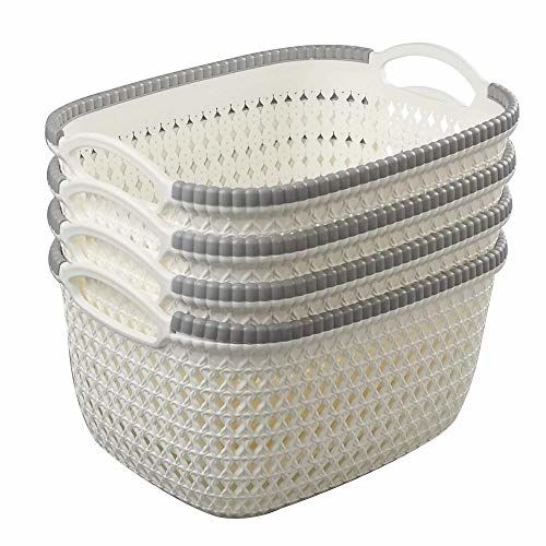 AB SALES Rattan Woven Weave Organiser Storage Baskets Container Bins with Handle Ideal for Kitchen, Bathroom Bedroom, Home Decor, Set of 4 (Small(20 * 16 * 11 cm))