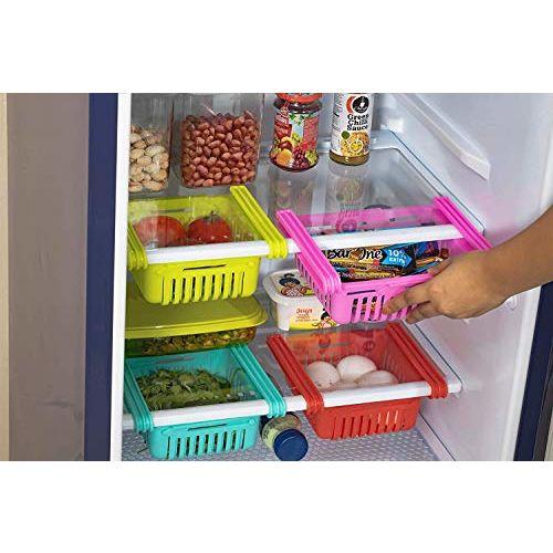 Peiroks 4 Pcs Expandable Adjustable Fridge Storage Basket Under Shelf Fridge Organiser Rack Space Saver Refrigerator Sliding Drawers - Unbreakable, Random