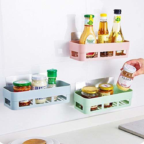 HOME CUBE 1Pc Multipurpose Kitchen Bathroom Shelf Wall Holder Storage Rack Bathroom Rack Storage Box Strong Magic Sticker Shower Rack Shelf - Random Color (1)