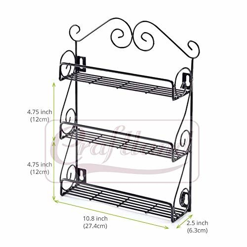 Craftland 3-Tier Scroll Wall Mounted Shelf Spice Rack - Storage Organizer for Kitchen, Pantry, Cabinet, Counter top or Free Standing - Black ( CAN HOLD JARS