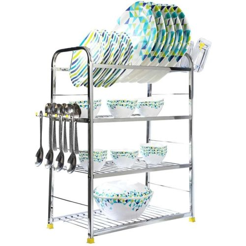 Meded High Quality Stainless Steel 3 Layer Kitchen Dish Rack Plate Cutlery Stand/ Kitchen Utensils Rack, 24 x 18 inch, Free Standing/ Wall Mounted Utensil