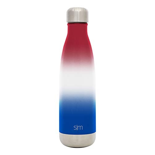 Simple Modern 17 oz Wave Water Bottle - Stainless Steel Swell Hydro Metal Flask -Vacuum Insulated Reusable Small Kids Coffee Leak Proof Thermos - Ombre: Freedom