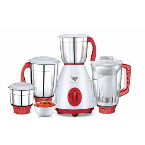 Prestige Perfect Plus Juicer Mixer Grinder, 750 Watt, 4 Jars (White and Red)