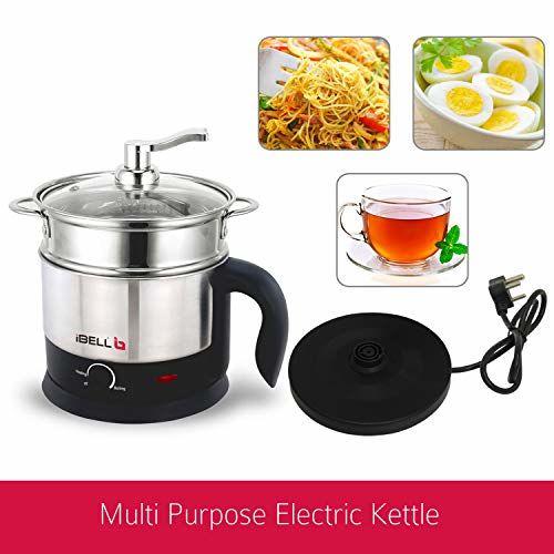 iBELL MPK120L Premium Stainless Steel Multi Purpose Kettle/Cooker with Inner Pot 1.2 Litre (Silver)