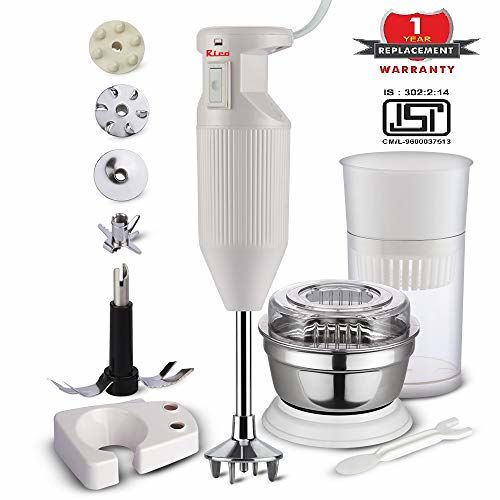 Rico Hand Blender with Chutney and Juice Jar, Low Noise and Quick Blend Japanese Technology, 150 Watt, 1 Year Free Replacement Guarantee I Made in India
