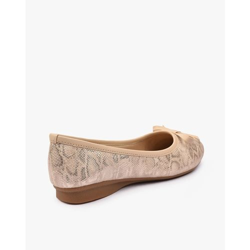 HI-ATTITUDE Animal Print Pointed-Toe Bellies with Bow