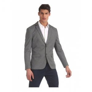 U.S. Polo Assn. Grey Polyester Textured Slim Fit Blazer