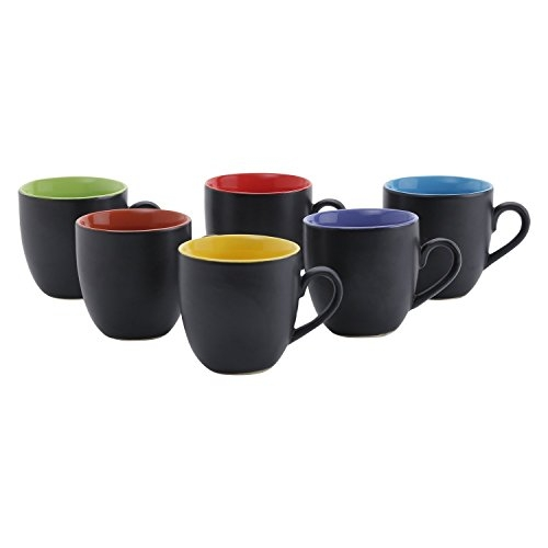 Anwaliya Fauna Series Ceramic Tea Cups - 6 Pieces, Matt Black, 200 ML