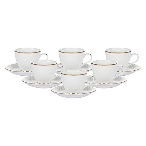 Femora Indian Ceramic Fine Bone China Gold Line Diamond Cut Dinnerware White Tea Cups, Mugs and Saucer-200 ml - Set of 6 (6 Cups, 6 Saucer)